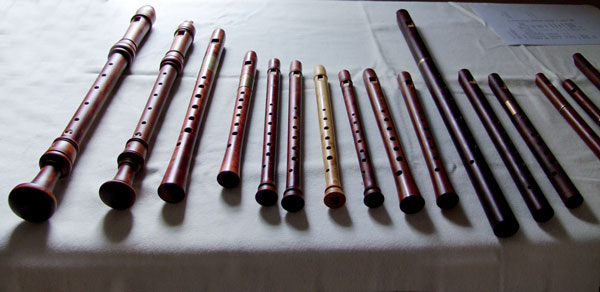 Different recorders on a table