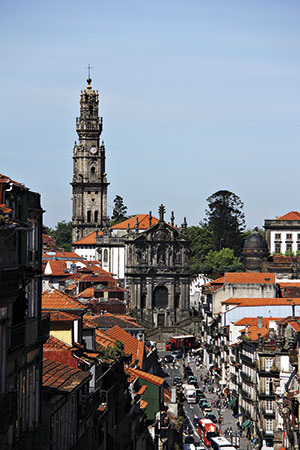 street and church of oporto