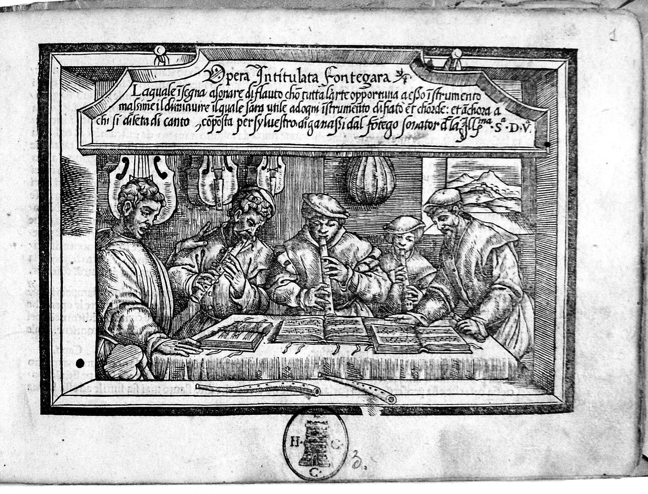 The frontispiece of Silvestro Ganassi's Fontegara (Venice 1535)