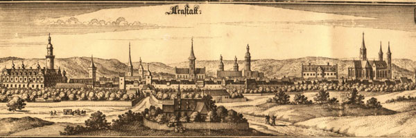 Arnstadt, view of the city in 1650. Copperplate engraving.
